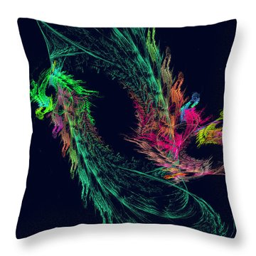 Fractal - Winged Dragon Throw Pillow by Susan Savad