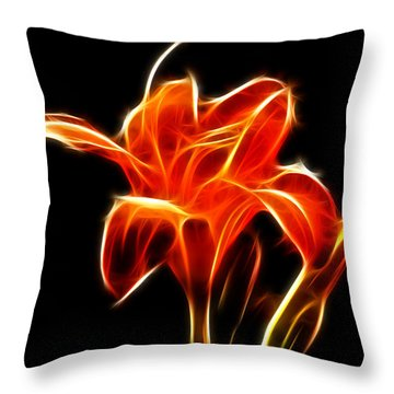 Fractaled Lily Throw Pillow