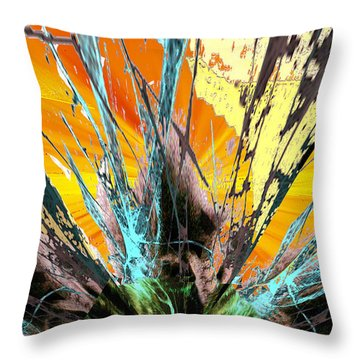 Fractured Sunset Throw Pillow