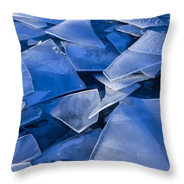 Fractured Surface Ice Drifted To The Throw Pillow by John Hyde