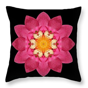 Throw Pillow featuring the photograph Fragaria Flower Mandala by David J Bookbinder