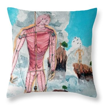 Fragiles Colossus Throw Pillow