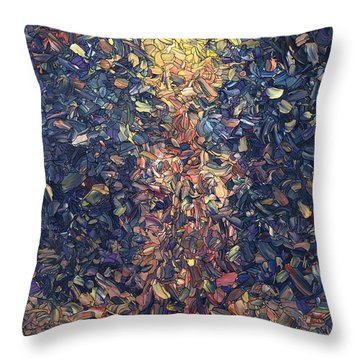 Throw Pillow featuring the painting Fragmented Flame by James W Johnson