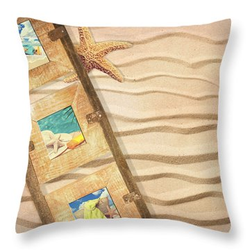 Frame With Postcards Throw Pillow by Amanda Elwell