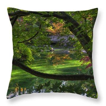 Framed Bridge -  Nishinomiya Japanese Garden Throw Pillow
