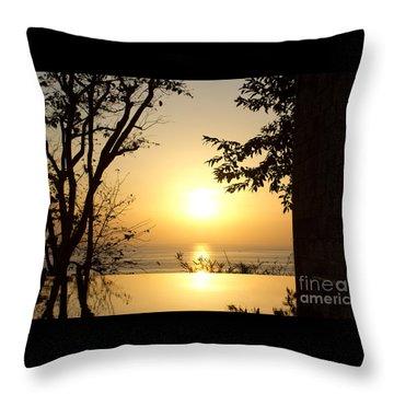 Framed Golden Sunset Throw Pillow