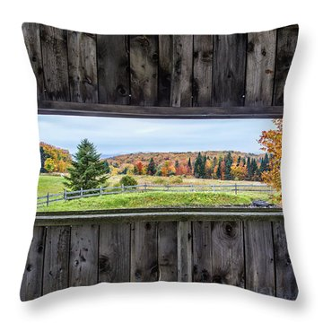 Framed-autumn In Vermont Throw Pillow