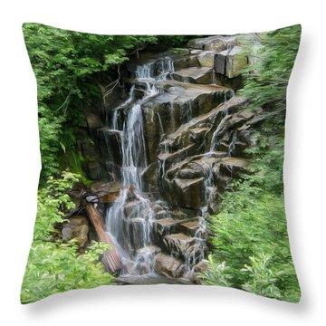 Framed Waterfalls On Mount Rainier Throw Pillow by John Haldane