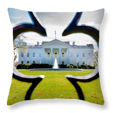 Framed Whitehouse Throw Pillow by Greg Fortier