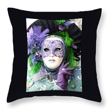 Throw Pillow featuring the photograph Francine's Purple Glove by Donna Corless