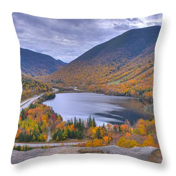 Franconia Notch From Artist's Bluff Throw Pillow