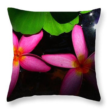 Frangipani Flowers On Water Throw Pillow