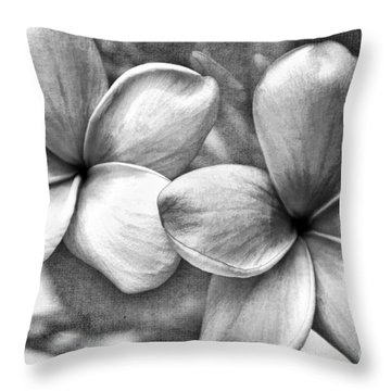 Frangipani In Black And White Throw Pillow by Peggy Hughes