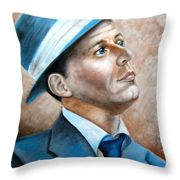 Throw Pillow featuring the painting Frank Sinatra Ol Blue Eyes by Patrice Torrillo