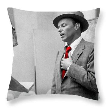 Frank Sinatra Painting Throw Pillow