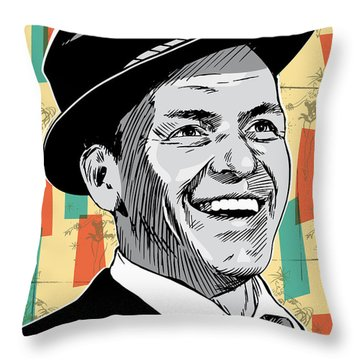 Frank Sinatra Pop Art Throw Pillow by Jim Zahniser