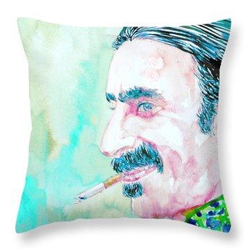 Frank Zappa Smoking A Cigarette Watercolor Portrait Throw Pillow