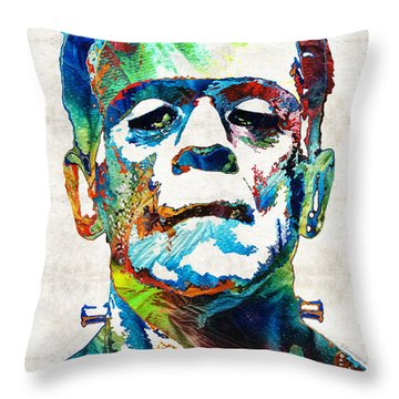 Frankenstein Art - Colorful Monster - By Sharon Cummings Throw Pillow