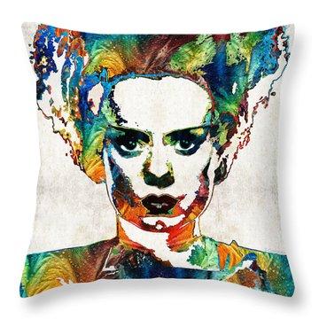 Frankenstein Bride Art - Colorful Monster Bride - By Sharon Cummings Throw Pillow