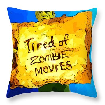 Frankenstein's Monster Turns Activist Throw Pillow by John Malone