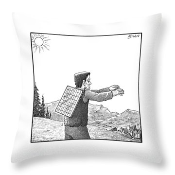 Frankenstein's Monster Walks With A Solar Panel Throw Pillow
