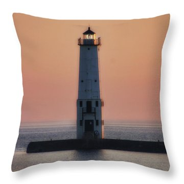 Throw Pillow featuring the photograph Frankfort Lighthouse II by Joan Bertucci