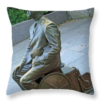 Franklin Delano Roosevelt In A Wheelchair Throw Pillow by Cora Wandel