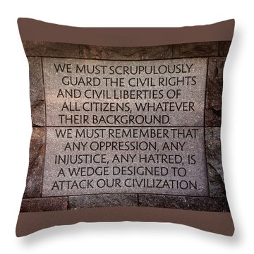 Franklin Delano Roosevelt Memorial Civil Rights Quote Throw Pillow by John Cardamone