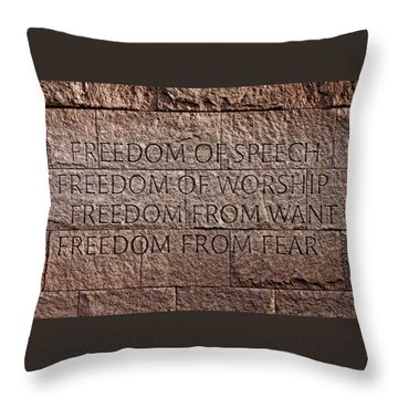 Franklin Delano Roosevelt Memorial Freedom Quote Throw Pillow by John Cardamone