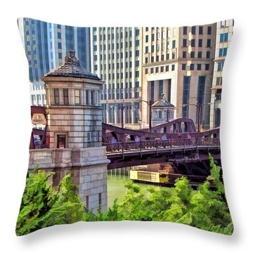 Chicago Franklin Street Bridge Throw Pillow