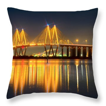 Fred Hartman Bridge At Night Throw Pillow