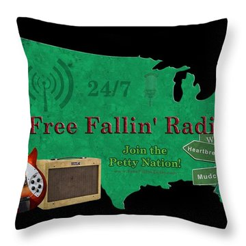 Free Fallin' Radio Throw Pillow by Tom DiFrancesca