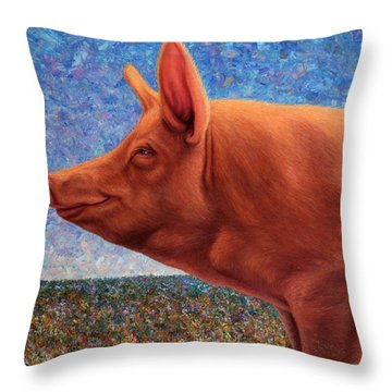 Free Range Pig Throw Pillow by James W Johnson