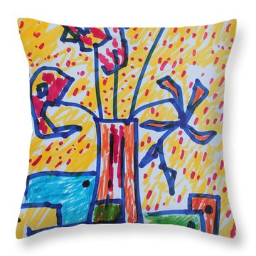 Throw Pillow featuring the painting Freedom In Confinement by Rosemary Colyer