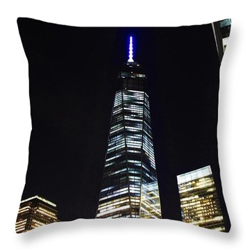 Freedom Tower And Blue Moon Throw Pillow