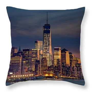 Freedom Tower Construction End Of 2013 Throw Pillow by Jerry Fornarotto