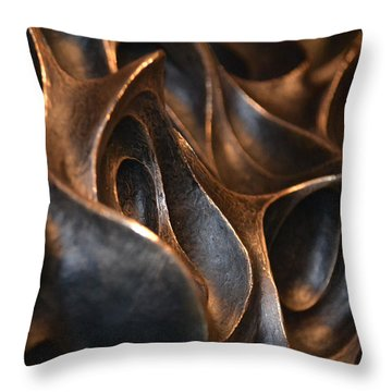 Throw Pillow featuring the photograph Freeform Metal  by Nadalyn Larsen