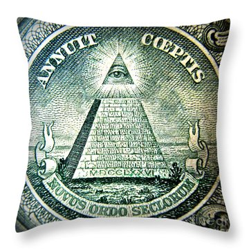 Freemason Symbol And Quote Throw Pillow by Renee Trenholm