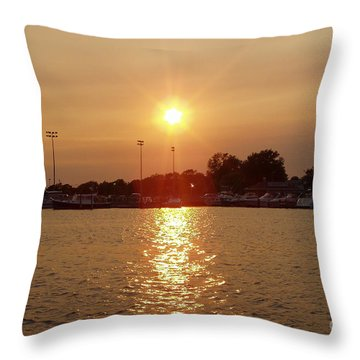 Freeport Summer Sunset Throw Pillow by John Telfer