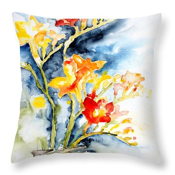 Freesia In A Pickle Jar Throw Pillow by Barbara Pommerenke