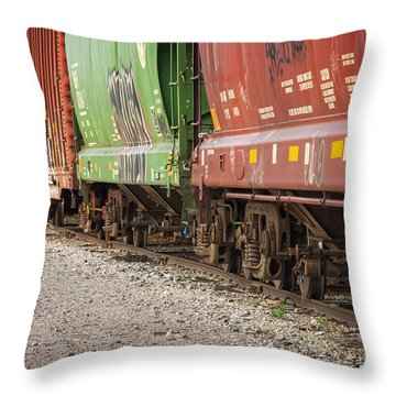 Throw Pillow featuring the photograph Freight Train Cars On Tracks by Bryan Mullennix