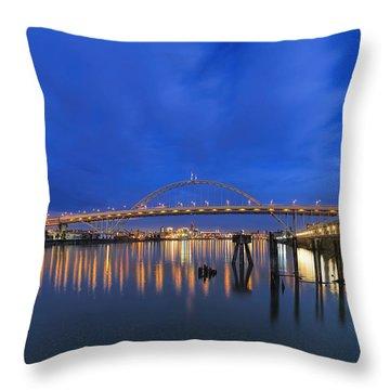 Fremont Bridge Blues Throw Pillow by David Gn