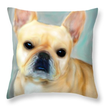 Throw Pillow featuring the painting French Bulldog Mystique D'or by Barbara Chichester