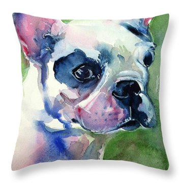 French Bulldog Painting Throw Pillow by Maria's Watercolor