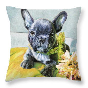 French Bulldog Puppy Throw Pillow by Jane Schnetlage