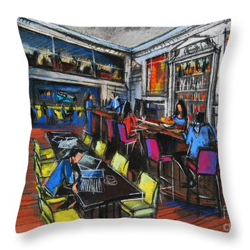 French Cafe Interior Throw Pillow