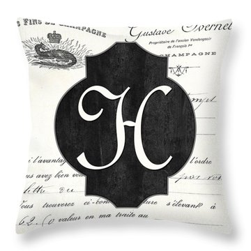 French Champagne Monogram Throw Pillow