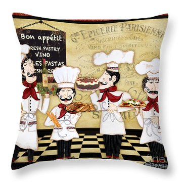 French Chefs-bon Appetit Throw Pillow by Jean Plout