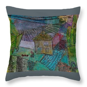 Throw Pillow featuring the mixed media French Farm by Catherine Redmayne
