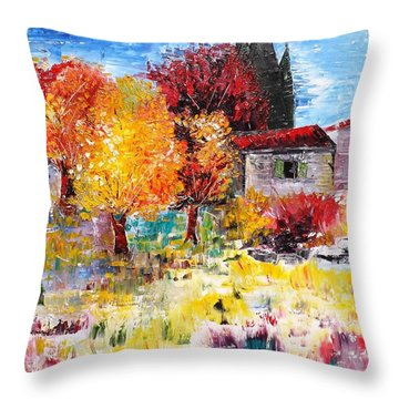 French Farm With Green Shutters Throw Pillow
